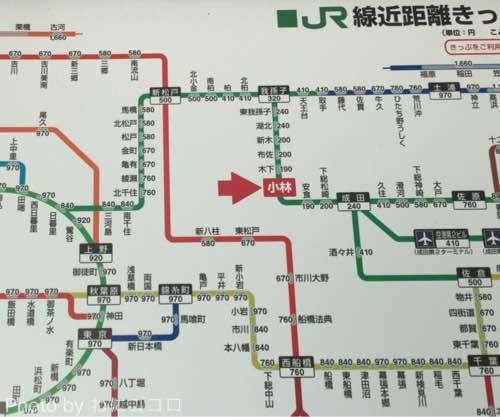 小林駅からの運賃表